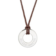 Roman Numeral Men's Brown Cord Circle Pendant