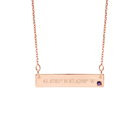 Custom Coordinate 14K Rose Gold Birthstone Bar Necklace
