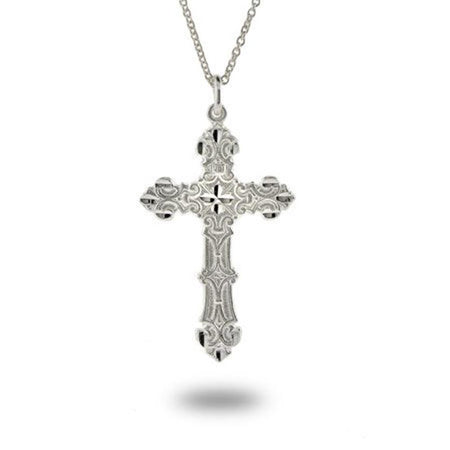 Ornate Vintage Style Sterling Silver Cross Pendant