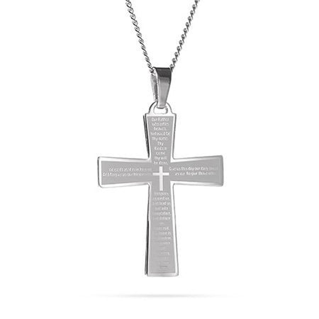 Engravable Lord's Prayer Cross Pendant