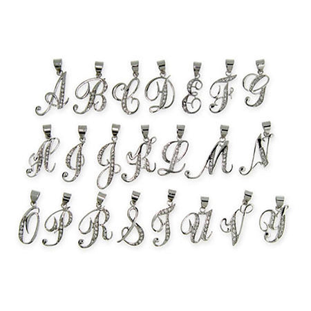 Sterling Silver CZ Cursive Initial Necklace