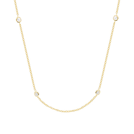 CZ Studded Chain Gold Vermeil Necklace