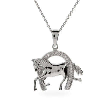 display slide 1 of 3 - Designer Inspired CZ Equestrian Horseshoe Necklace - selected slide