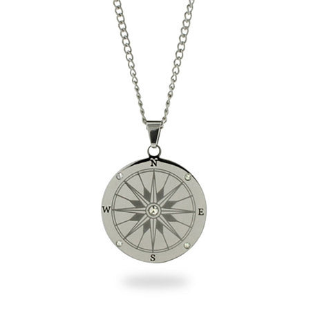 display slide 1 of 3 - Engravable Compass Necklace - selected slide