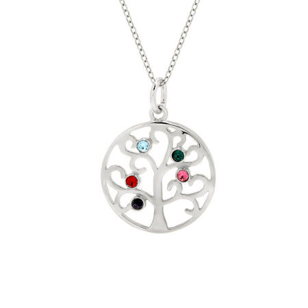 5 Birthstone Family Tree Pendant in Sterling Silver