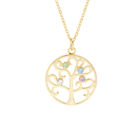 display slide 1 of 4 - Gold Vermeil 4 Birthstone Family Tree Pendant - selected slide