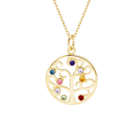 8 Stone Gold Vermeil Crystal Family Tree Pendant