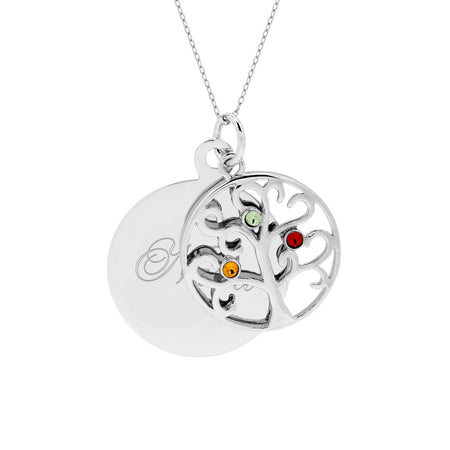 Engravable Family Tree Three Birthstone Pendant