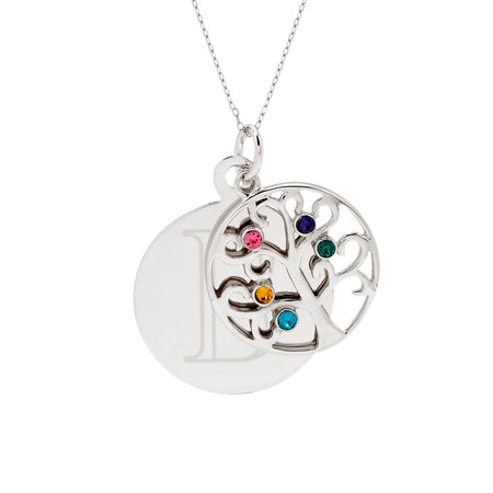 display slide 1 of 4 - Engravable 5 Stone Sparkling Crystal Family Tree Necklace - selected slide