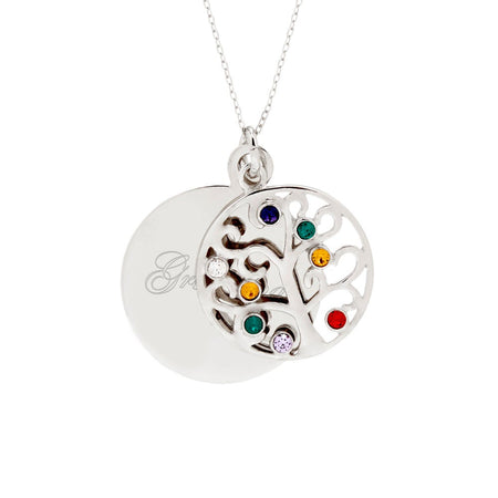 display slide 1 of 3 - Engravable 8 Stone Sparkling Crystal Family Tree Pendant - selected slide