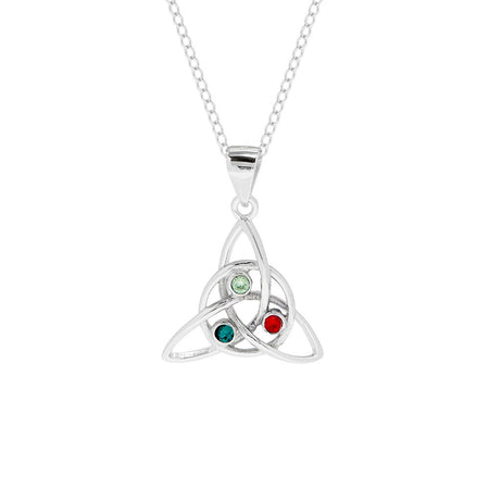 display slide 1 of 4 - 3 Stone Celtic Trinity Knot Custom Birthstone Pendant - selected slide