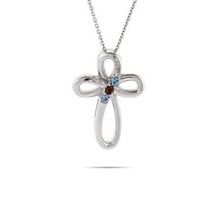 3 Stone Sterling Silver Birthstone Infinity Cross