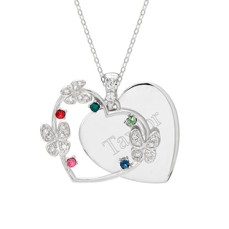 display slide 1 of 3 - 5 Birthstone Butterfly Engravable Pendant - selected slide