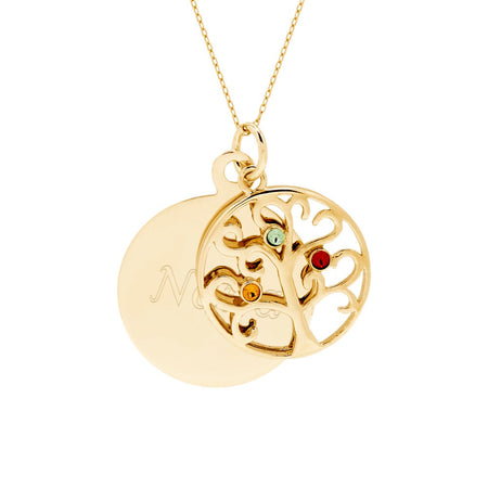 Engravable 3 Stone Gold Vermeil Circle Family Tree Necklace