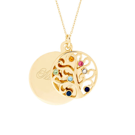 display slide 1 of 3 - Engravable 7 Birthstone Gold Vermeil Circle Family Tree Necklace - selected slide
