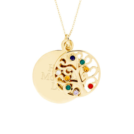 Engravable 8 Stone Gold Vermeil Birthstone Family Tree Pendant
