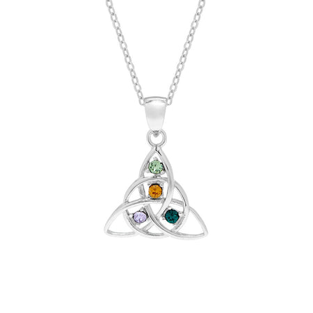 display slide 1 of 4 - 4 Birthstone Celtic Trinity Knot Birthstone Pendant - selected slide