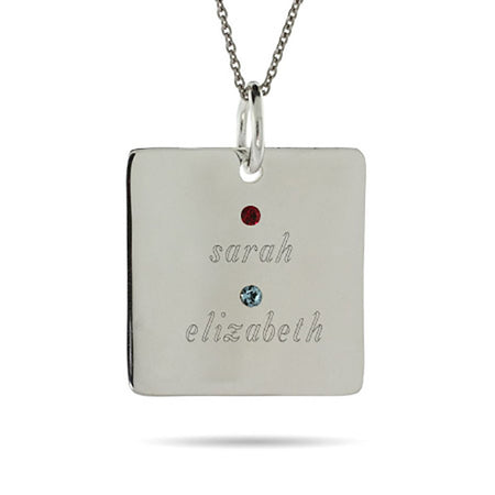 display slide 1 of 4 - 2 Stone Sterling Silver Square Tag Pendant - selected slide