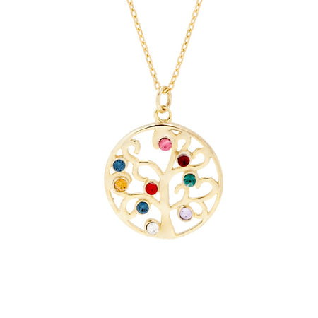 9 Birthstone Gold Vermeil Custom Family Tree Necklace