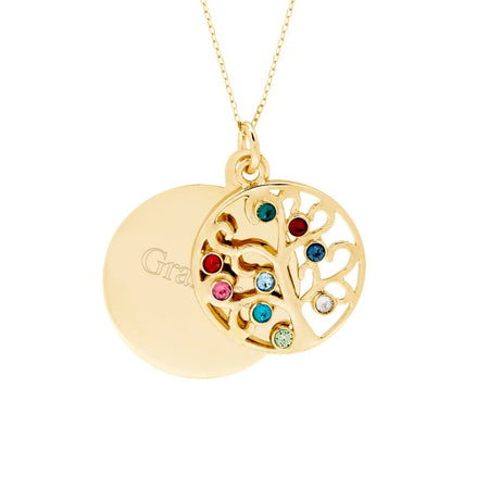 Engravable 9 Stone Gold Plated Custom Birthstone Family Tree Necklace
