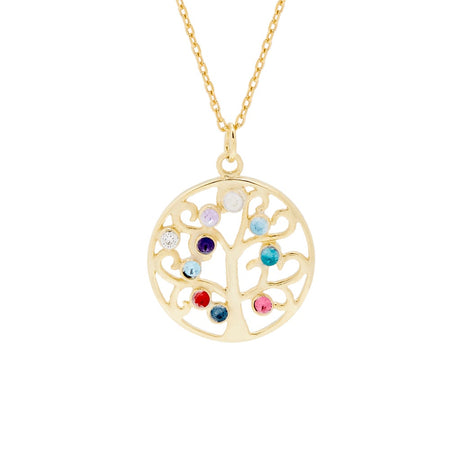 Custom 10 Stone Gold Vermeil Birthstone Family Tree Pendant