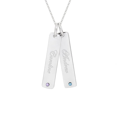 Engravable Sterling Silver Double Birthstone Tag Pendant