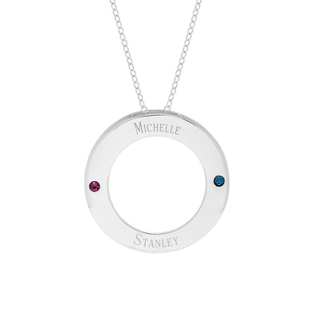 Two Birthstone Engravable Family Circle Necklace