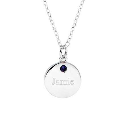 display slide 1 of 1 - Small Round Tag Birthstone Charm - selected slide