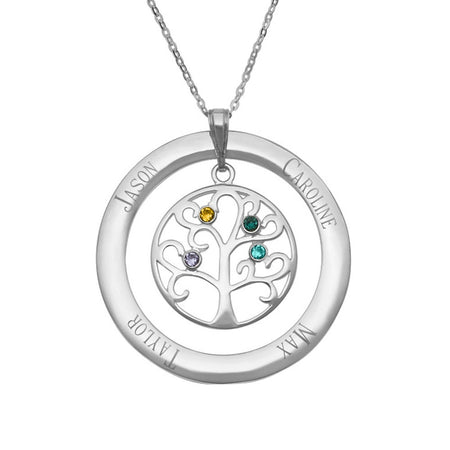4 Birthstones Family Tree Necklace Pendant
