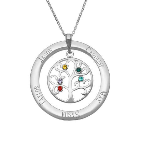 5 Birthstone Personalized Crystal Family Tree Necklace