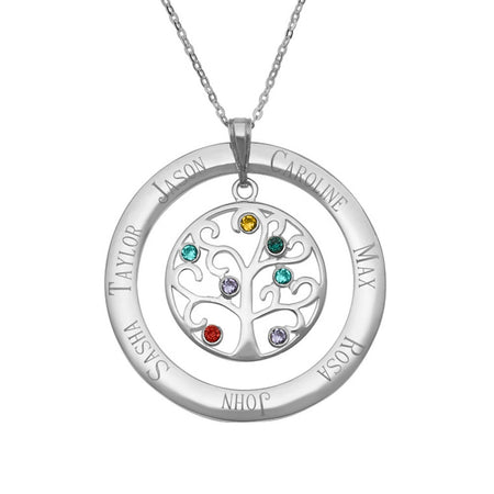 7 Stone Personalized Birthstone Family Tree Pendant