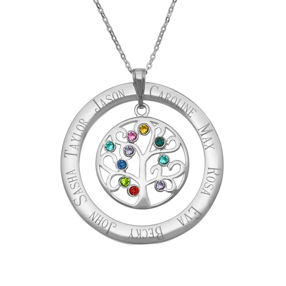 10 Stone Personalized Birthstone Crystal Family Tree Pendant