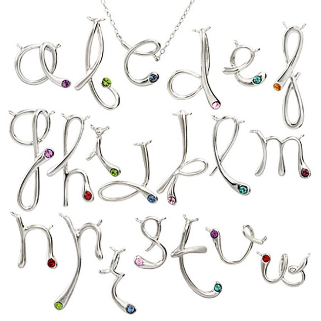 Birthstone Initial Necklace Pendant