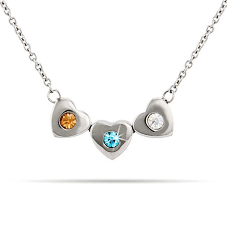 Personalized 3 Stone Family of Hearts Birthstone Necklace