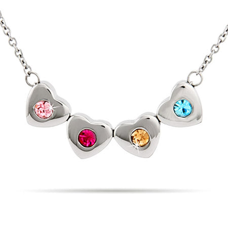display slide 1 of 3 - Custom 4 Stone Family of Hearts Birthstone Necklace - selected slide