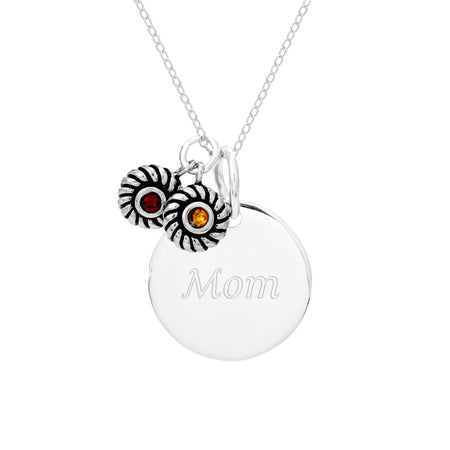 Sterling Silver Round Tag Pendant with 2 Birthstone Charms
