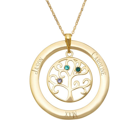 3 Birthstone Family Tree Pendant in Gold Vermeil