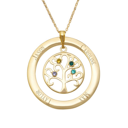 display slide 1 of 5 - Engraved Gold Vermeil 4 Birthstone Family Tree Necklace - selected slide