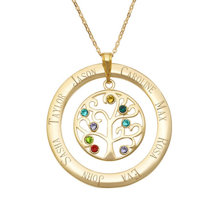 8 Birthstone Engraved Gold Vermeil Family Tree Pendant