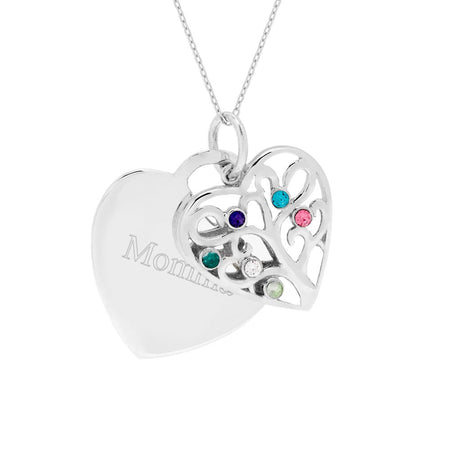 display slide 1 of 4 - Engravable 6 Stone Heart Birthstone Family Tree Pendant - selected slide