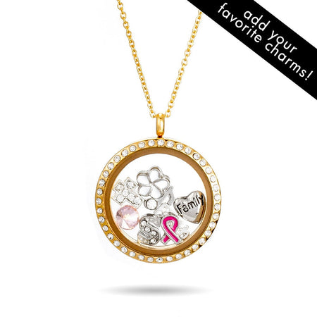 display slide 1 of 3 - Gold CZ Round Floating Charm Locket - selected slide