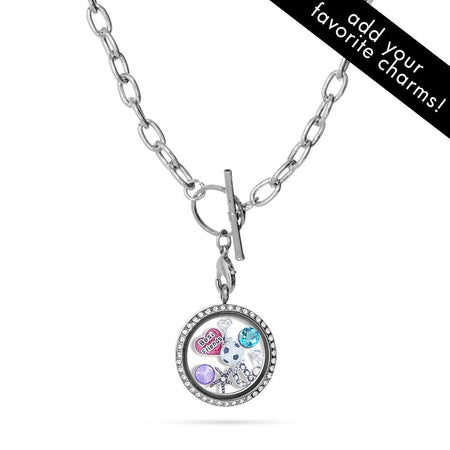 display slide 1 of 4 - CZ Build A Charm Floating Locket on Toggle Chain - selected slide