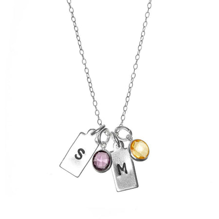display slide 1 of 6 - Hand Stamped Silver Rectangle Mini Initial Birthstone Necklace - selected slide