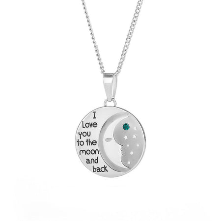 display slide 1 of 4 - Custom I Love You To The Moon and Back Birthstone Necklace - selected slide