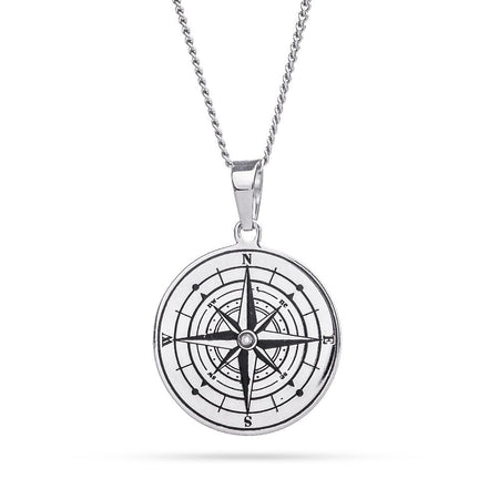 display slide 1 of 3 - Engravable Birthstone Compass Pendant  - selected slide