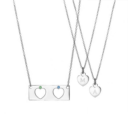 display slide 1 of 2 - Mother Daughter 2 Child Birthstone Heart Bar Pendant Set - selected slide
