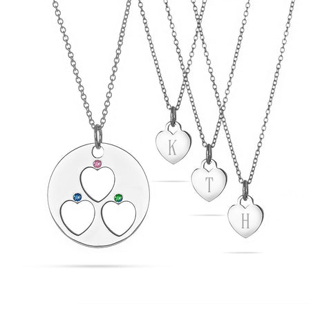 Mother and 3 Child Birthstone Initial Heart Necklace Set