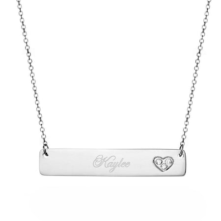 14K White Gold Bar Heart Name Plate Necklace