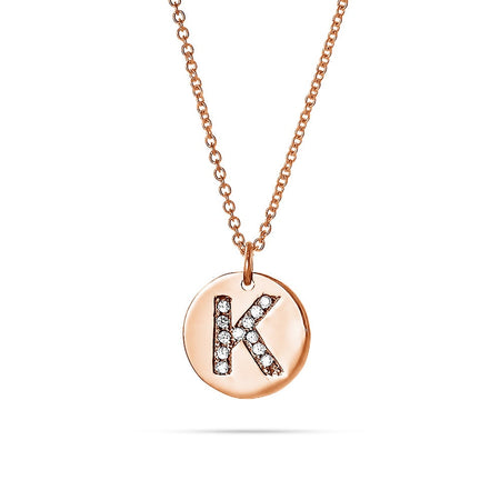 Diamond Initial Rose Gold Vermeil Disc Necklace