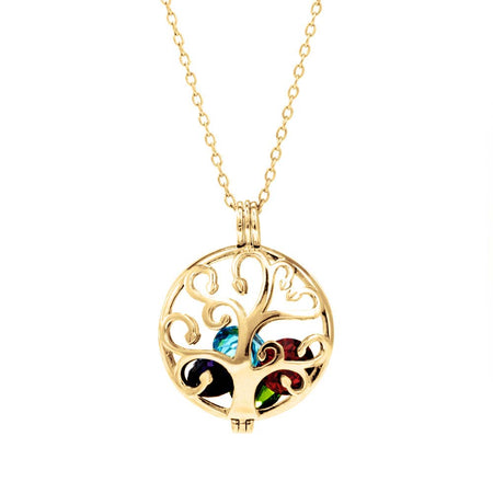 Custom Family Tree Birthstone Gold Locket